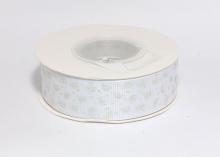 Репсовая лента Серебряные короны на белом, 25 мм