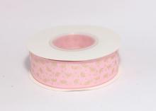 Репсовая лента Золотые короны на розовом, 25 мм
