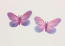 Бабочка шифон+глиттер, 50х40 мм, Розовато-сиреневая с голубым