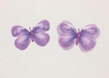 Бабочка шифон+глиттер, 50х40 мм, Фиолетовая