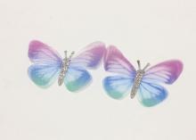 Бабочка шифон+глиттер, 50х40 мм, Голубая-сиреневая