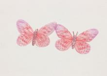 Бабочка шифон+глиттер, 50х40 мм, Розово-сиреневая
