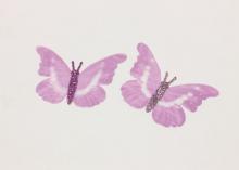 Бабочка шифон+глиттер, 50х40 мм, Сиреневая