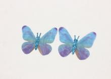 Бабочка шифон+глиттер, 50х40 мм, Сине-голубая