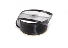 Органза с окантовкой атласной, 40 мм. Черная