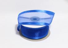 Органза с окантовкой атласной, 40 мм. Синяя