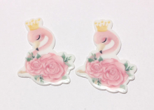 Кабошон плоский Розовый фламинго, 38 мм