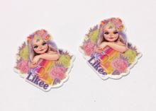 Кабошон плоский Девочка лайк цветы, 38 мм