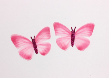 Бабочка шифон+глиттер, 50х40 мм, Ярко-розовая