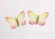 Бабочка шифон+глиттер, 50х40 мм, Желто-розовая