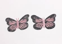 Бабочка шифон+глиттер, 50х40 мм, Черно-розовая