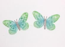 Бабочка шифон+глиттер, 50х40 мм, Зелено-голубая