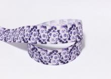 Репсовая лента Цветы синие на белом, 25 мм