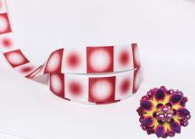 Репсовая лента Круговой градиент Белый-Бордовый, 25 мм