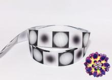 Репсовая лента Круговой градиент Черно-белый, 25 мм