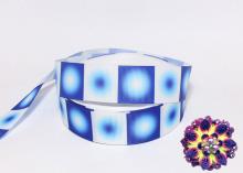 Репсовая лента Круговой градиент Сине-белый, 25 мм