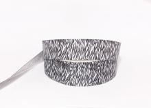 Репсовая лента Орнамент зебра черно-белый, 25 мм