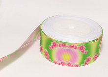 Репсовая лента для лепестка Камелии Розовые цветы, 38 мм