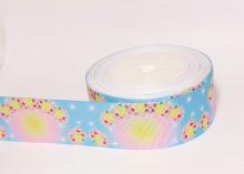 Репсовая лента для лепестка Камелии Желто-розовые цветы, 38 мм