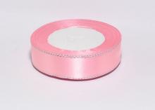 Атласная лента с люрексом, розовый серебро 04, 25 мм