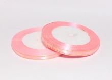 Лента атласная с люрексом, Розовая золото 089, (25 ярдов), 6 мм