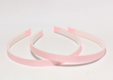 Ободок с зубчиками в репсовой ленте Светло-розовый, 1 см