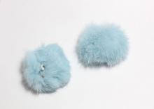 Меховая подвеска помпон Голубой, 5 см (кролик)