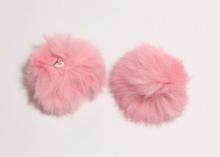 Меховая подвеска помпон Розовый, 5 см (кролик)