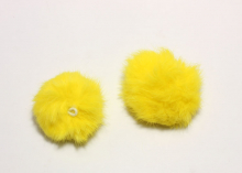 Меховая подвеска помпон Желтый, 5 см (кролик)