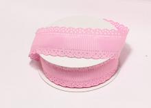 Лента репсовая с ажурными краями, 3 см, Розовая