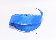 Лента репсовая с ажурными краями, 3 см, Синяя
