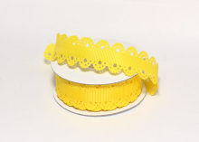 Лента репсовая с ажурными краями, 2 см, Желтая
