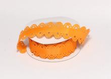Лента репсовая с ажурными краями, 2 см, Оранжевая