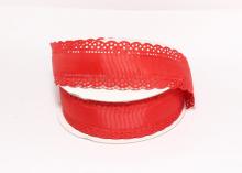 Лента репсовая с ажурными краями, 3 см, Красная