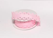 Лента репсовая с ажурными краями, 2 см, Светло-розовая
