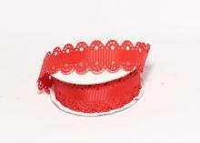 Лента репсовая с ажурными краями, 2 см, Красная