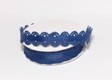 Лента репсовая с ажурными краями, 2 см, Темно-синяя