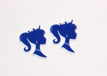 Кабошон плоский Ученица синяя, 40-45 мм