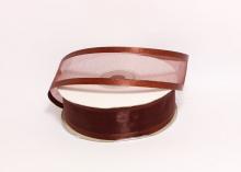 Органза с окантовкой атласной, 25 мм. Шоколадная