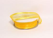 Органза с окантовкой атласной, 25 мм. Желтая