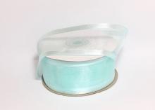 Органза с окантовкой атласной, 40 мм. Голубая-11