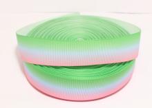 Лента репсовая Градиент Розовый-голубой-зеленая, 25 мм