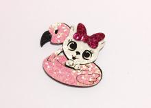 Набор для патча (детали для самостоятельной склейки) Котенок и фламинго, 5 см
