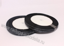Лента атласная с люрексом серебро, 6 мм, черная, бобина (25 ярдов)