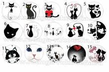 Картинки Коты черные на самоклейке под эпоксидку на крышки 25 мм