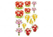 Набор термонаклеек Цветы 23-30 см, на бантики, одежду