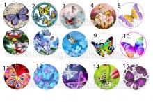 "Картинки ""Бабочки-3"" на самоклейке под эпоксидку на крышки 25 мм"