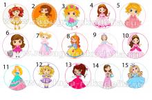 Картинки Принцессы-5 на самоклейке под эпоксидку на крышки