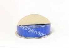Парча синяя с люрексом, 25 мм