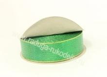 Парча зеленая с люрексом, 25 мм